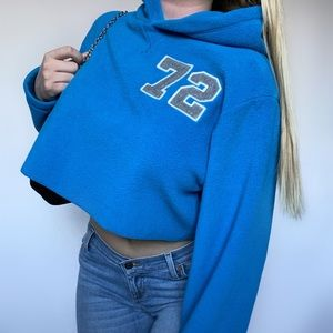Y2K Sporty Fleece Cropped Hoodie